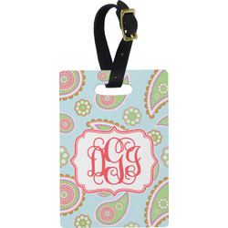 Blue Paisley Rectangular Luggage Tag (Personalized)
