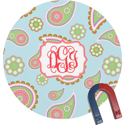 Blue Paisley Round Magnet (Personalized)