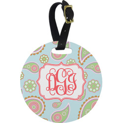 Blue Paisley Round Luggage Tag (Personalized)