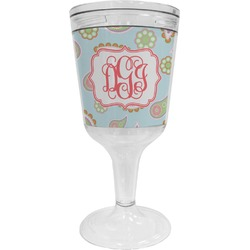 Blue Paisley Wine Tumbler - 11 oz Plastic (Personalized)