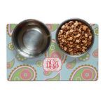 Blue Paisley Dog Food Mat (Personalized)