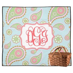Blue Paisley Outdoor Picnic Blanket (Personalized)