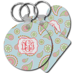 Blue Paisley Plastic Keychains (Personalized)