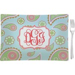 Blue Paisley Glass Rectangular Appetizer / Dessert Plate - Single or Set (Personalized)