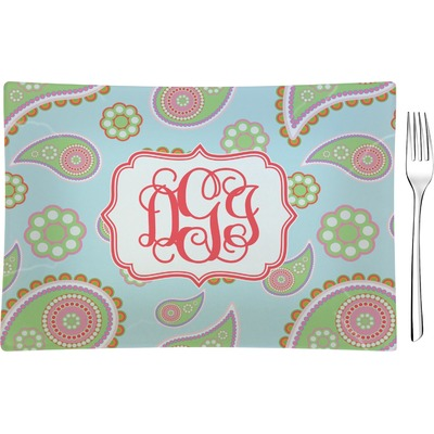 Blue Paisley Glass Rectangular Appetizer / Dessert Plate (Personalized)