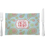 Blue Paisley Glass Rectangular Lunch / Dinner Plate - Single or Set (Personalized)