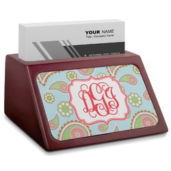 Blue Paisley Red Mahogany Business Card Holder (Personalized)