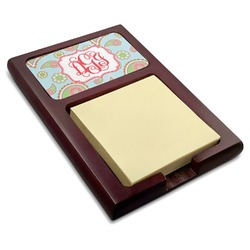 Blue Paisley Red Mahogany Sticky Note Holder (Personalized)