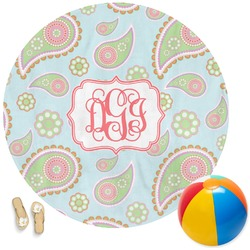 Blue Paisley Round Beach Towel (Personalized)
