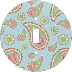 Blue Paisley Round Light Switch Cover (Personalized)