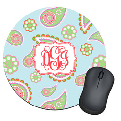 Blue Paisley Round Mouse Pad (Personalized)
