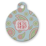 Blue Paisley Round Pet Tag (Personalized)