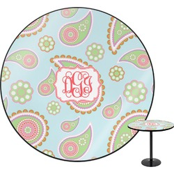 Blue Paisley Round Table (Personalized)