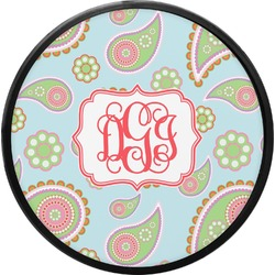 Blue Paisley Round Trailer Hitch Cover (Personalized)