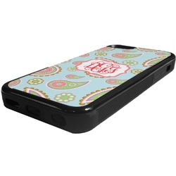 Blue Paisley Rubber iPhone 5C Phone Case (Personalized)