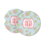 Blue Paisley Sandstone Car Coasters (Personalized)