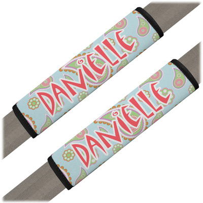 Blue Paisley Seat Belt Covers (Set of 2) (Personalized)