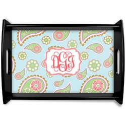 Blue Paisley Black Wooden Tray (Personalized)
