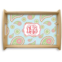 Blue Paisley Natural Wooden Tray - Small (Personalized)