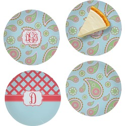 """Blue Paisley Set of 4 Glass Appetizer / Dessert Plate 8"""" (Personalized)"""