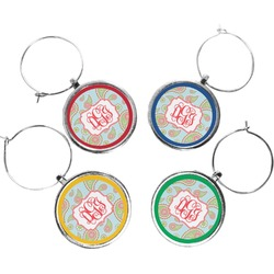 Blue Paisley Wine Charms (Set of 4) (Personalized)