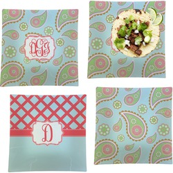 """Blue Paisley Set of 4 Glass Square Lunch / Dinner Plate 9.5"""" (Personalized)"""