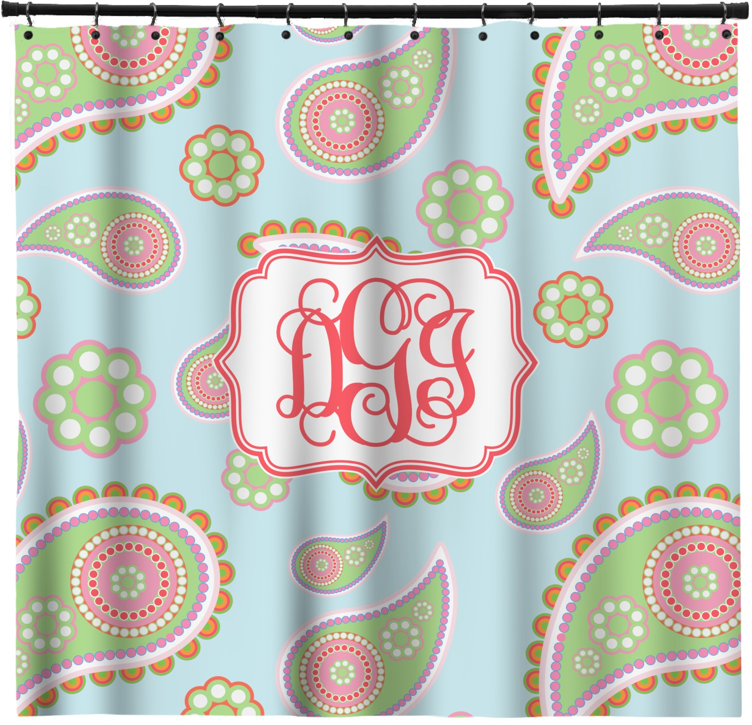 Blue Paisley Shower Curtain Personalized