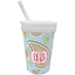 Blue Paisley Sippy Cup with Straw (Personalized)