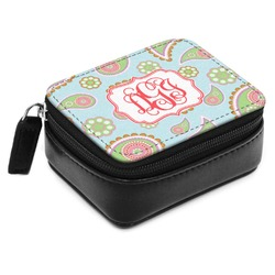 Blue Paisley Small Leatherette Travel Pill Case (Personalized)