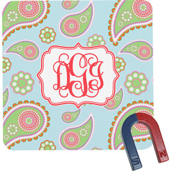 Blue Paisley Square Fridge Magnet (Personalized)