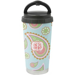 Blue Paisley Stainless Steel Travel Mug (Personalized)