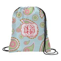 Blue Paisley Drawstring Backpack (Personalized)
