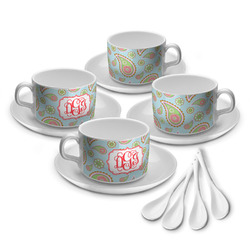 Blue Paisley Tea Cup - Set of 4 (Personalized)
