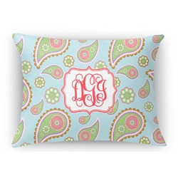 Blue Paisley Rectangular Throw Pillow Case (Personalized)