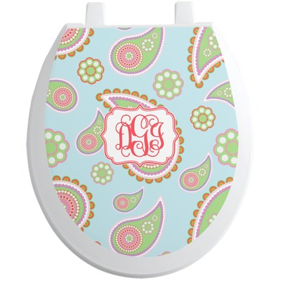 Blue Paisley Toilet Seat Decal (Personalized)