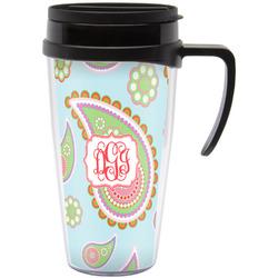 Blue Paisley Travel Mug with Handle (Personalized)