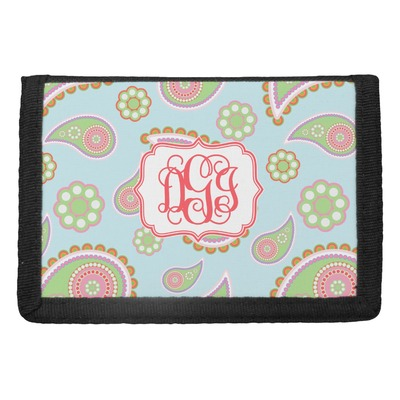 Blue Paisley Trifold Wallet (Personalized)