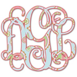 Blue Paisley Monogram Decal - Custom Sizes (Personalized)
