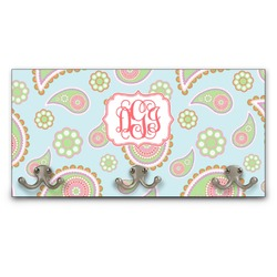 Blue Paisley Wall Mounted Coat Rack (Personalized)