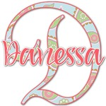 Blue Paisley Name & Initial Decal - Custom Sized (Personalized)