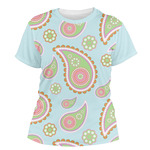 Blue Paisley Women's Crew T-Shirt (Personalized)