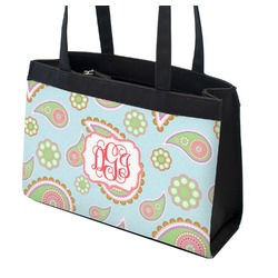 Blue Paisley Zippered Everyday Tote (Personalized)