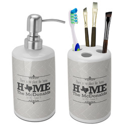 Home State Bathroom Accessories Set (Ceramic) (Personalized)