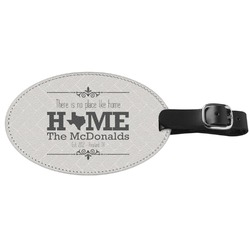 Home State Genuine Leather Oval Luggage Tag (Personalized)