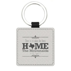 Home State Genuine Leather Rectangular Keychain (Personalized)