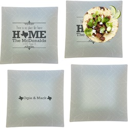 """Home State Set of 4 Glass Square Lunch / Dinner Plate 9.5"""" (Personalized)"""