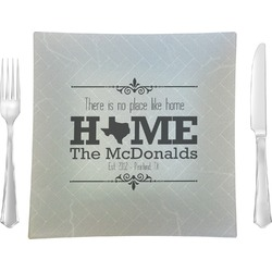 """Home State Glass Square Lunch / Dinner Plate 9.5"""" - Single or Set of 4 (Personalized)"""