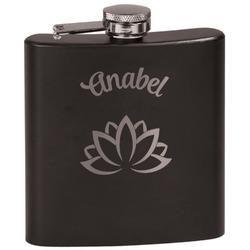 Lotus Flower Black Flask (Personalized)