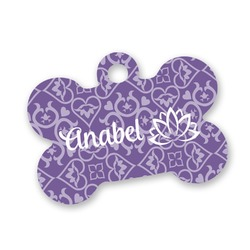 Lotus Flower Bone Shaped Dog Tag (Personalized)