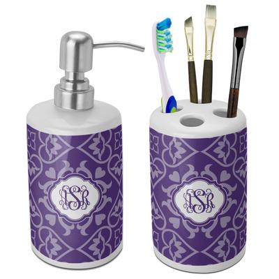Lotus Flower Ceramic Bathroom Accessories Set (Personalized)